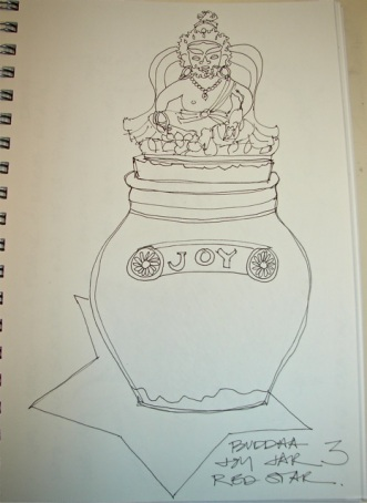 Buddha sits on the Joy Jar.