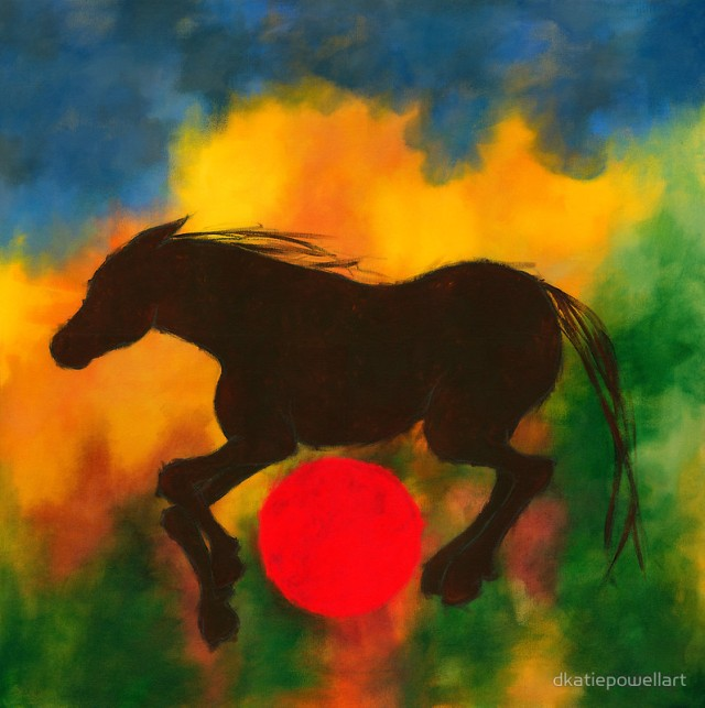 W HORSE WITH RED BALL