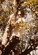 Cool Mike climbing a tree at the ranch.