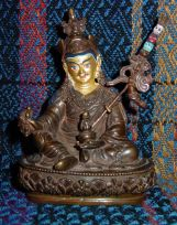 Guru Rinpoche ~4-inches, copper and gilded with traditional painted touches