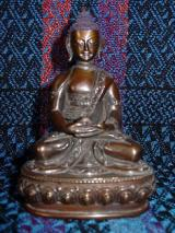 Shakyamuni ~4-inches, copper with traditional painted touches